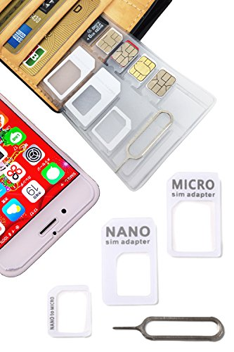 SIM holder card case, LOSS PREVENTING, Thiner than credit cards, Made in JAPAN/Fill the gap/Nano Micro SD/Conversion adapter kit/Ejector Pin (WHITE)