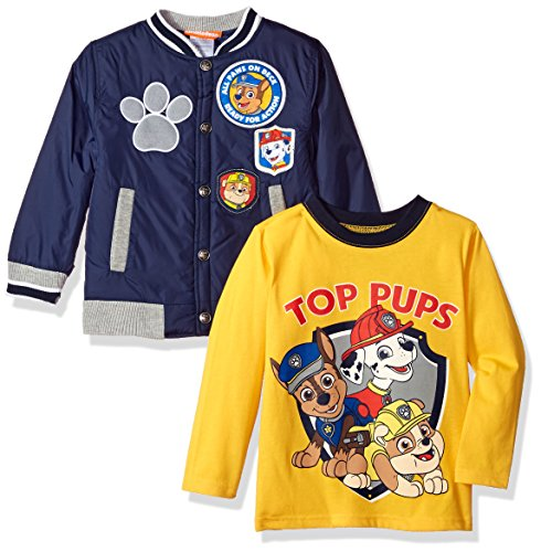 (Nickelodeon Boys' Toddler 2 Piece Paw Patrol Stadium Jacket Set with Tee, Blue, 2T)