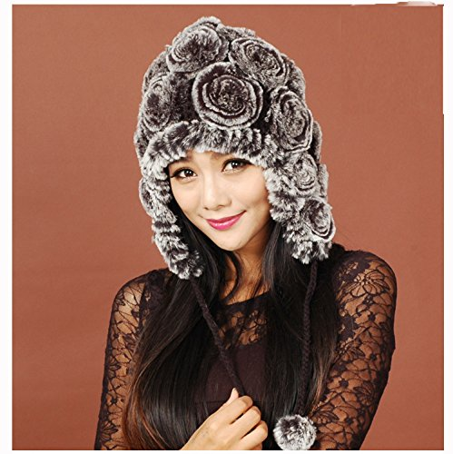 URSFUR Women's Knit Rex Rabbit Fur Rose Bonnet Hat with Pom Poms Multicolor (Gray Frost)