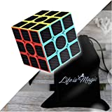 Magic Cube 3x3x3 Smooth Speed Magic Cube Puzzle and Easy Turning Amazing Corner Cutting with Carbon Stickers and Vivid Colors Perfect for Brain Training Game and Great Gift Idea.