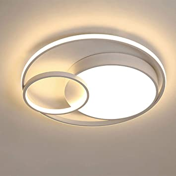 Deckenleuchte Modern LED Dimmbar Deckenlampe Mit Fernbedienung 3 Runden Design Metall Acryl Wohnzimmer Esszimmer Schlafzimmer K/üche Flur B/üro Badezimmer Beleuchtung Deko Lampe,Gold,45 6cm//55W 42