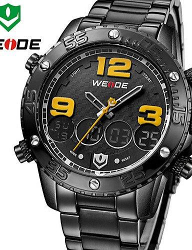 WEIDE hombres militares analógico y digital pantalla LCD multifuncional completo reloj de cuarzo de acero inoxidable negro: Amazon.es: Relojes