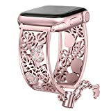 Secbolt Hollowed-Out Bling Bands Compatible Apple Watch Band 38mm 40mm iWatch Series 4, Series 3, Series 2, Series 1, Diamond Rhinestone Stainless Steel Cuff Bracelet Jewelry Dressy Bangle, Rose Gold
