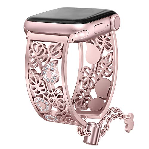 Secbolt Hollowed-Out Bling Bands Compatible Apple Watch Band 42mm 44mm iWatch Series 4, Series 3, Series 2, Series 1, Diamond Stainless Steel Cuff Bracelet Jewelry Dressy Bangle, Rose ()