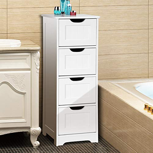 Tangkula Floor Cabinet Wooden Storage Cabinet Home Office Living Room Bathroom Side Table Sturdy Modern 4 Drawers Cabinet Organizer Bedroom Night Stand, White (12 x 12 x 32)