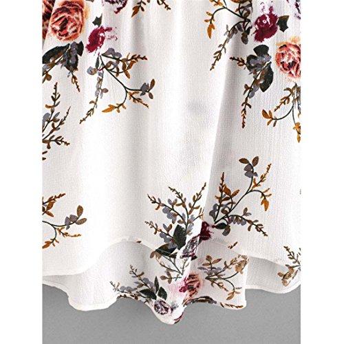 FAMILIZO Mujeres De Manga Corta De Encaje De Hombro Blusa Floral Top Casual T-Shirt Camisetas Blanco