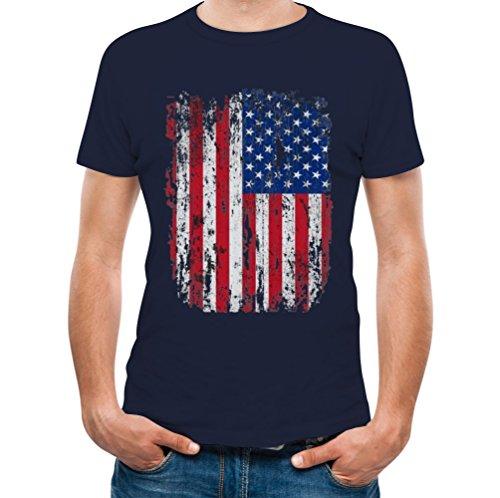 United States of America Flag T-Shirt USA Flag Men Shirts Navy Large T-Shirt