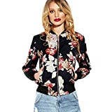 Tsmile Women Coat Clearance Autumn Winter Printed Casual Jacket Overcoat Tops Baseball Outwear (Black, L)