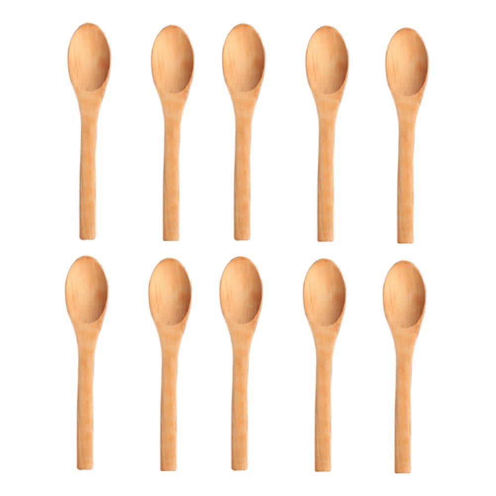 Fablcrew Wooden Spoons Ladle Mini Small Honey coffee Tea Condiment Sugar Salt Spoon 10PCS 12.8*2.9cm