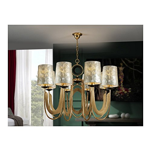 Schuller Spain 716835I4L Traditional Gold Ceiling Chandelier shade pendant light 8 Light Dining Room, Living Room LED | ideas4lighting by Schuller