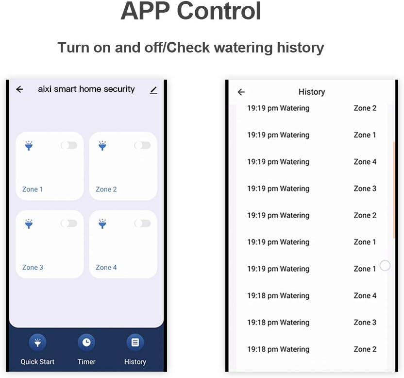Adaptador de Corriente no Incluido Establecer temporizadores de riego aixi-SHS Inteligente Wi-Fi Controlador de rociadores de Interior 4 Zonas Control Remoto de la aplicaci/ón Smart Life
