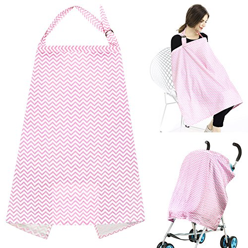 Accmor Multi-use Nursing Cover, Breathable Cotton Breastfeeding Cover Nursing Apron with Free Matching Pouch, Lightweight, Full Coverage, Rigid Neckline, Covers Up Newborns in Public for Mother by accmor