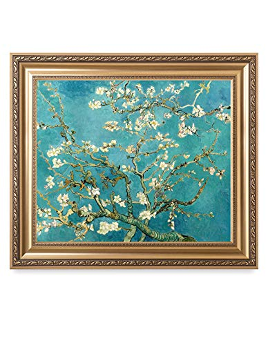 DECORARTS - Blossoming Almond Tree, Vincent Van Gogh Classic Art. Giclee Prints Framed Art for Wall Decor. Framed Size: 30x26 ()