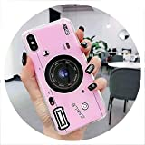 Old Styles Case for iPhone 8 5S 5C Vintage 3D Camera Soft Silicone TPU Cover for iPhone 6 6s 7 8 Plus XS Max XR 3D Phone Holder,Pink,for iPhone Xs Max,1 Case NO Holder