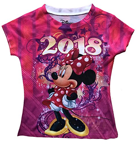 Disney Fashion - Disney Girls Youth Fashion Top 2018 Celebrate Minnie Dated Sublimated Top (Small)