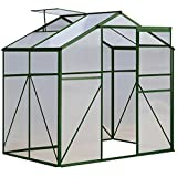 Green 4 x 6 FT Aluminum Frame Walk-in Greenhouse Sliding Door w/ Ventilation Window