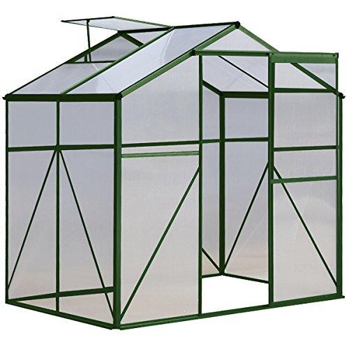 Green 4 x 6 FT Aluminum Frame Walk-in Greenhouse Sliding Door w/ Ventilation Window by FDInspiration