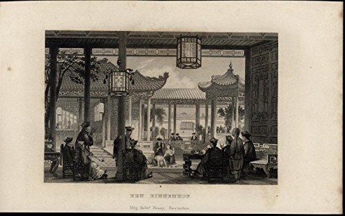 courtyard-pipe-smoking-acrobats-costume-scarce-1861-antique-dutch-china-print