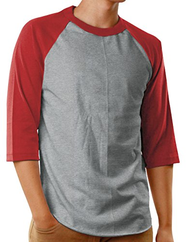 Top T-shirt Hat Sleeve Short (Hat and Beyond Mens Baseball Jersey Button Down T Shirts Hipster Plain Hip Hop 1UPA02 (X-Large, SK Gray/Red))