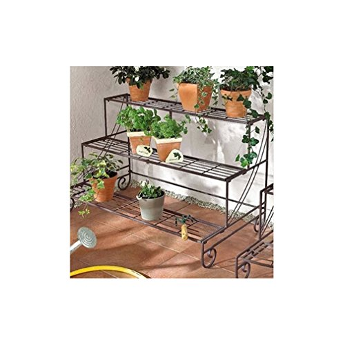 3 Tier Decorative Black Metal Plant Stand / Planter Holder / Multi Planter Flower Pot Racks - MyGift