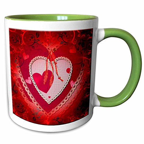 3dRose Spiritual Awakenings-Love - Pretty red gradient background and decorated paper heart and bows - 11oz Two-Tone Green Mug - Pics Gradient
