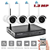YESKAM 4 Channel 960P Security Camera System with CCTV Wireless Auto Pair Technology Night Vision Motion Detection Weatherproof IP66 for Home Surveillance Built in Router (4CH 960P No HDD)