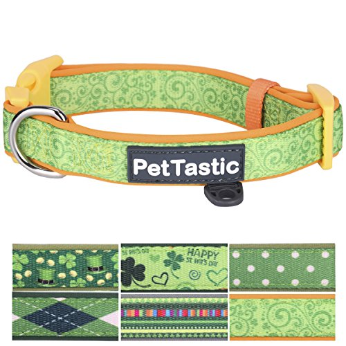 PetTastic Best Adjustable Medium Dog Collar Durable Soft & Heavy Duty with Cute Patrick's Green Design, Outdoor & Indoor use Comfort Dog Collar for Girls, Boys, Puppy, Adults, Including ID Tag Ring