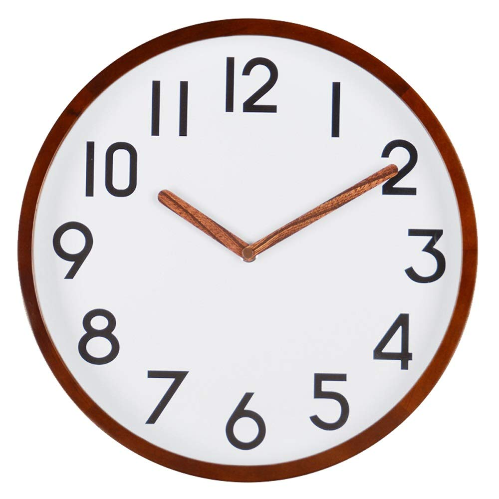 XTSP Wall Clock - Living Room Bedroom Kitchen Decor - Creative Quartz Clock - Mute - Solid Wood - 12 inches (Size : 12in)