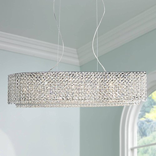 Adali Curve 32 Wide Clear Crystal Linear Chandelier – Vienna Full Spectrum