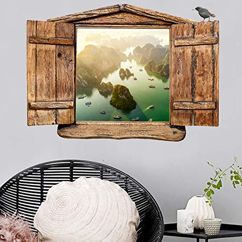 - Walkec 3D Beautiful Landscape Faux Window Frame Wall Stickers Decals for Living Bedding Room, Window Wall Mural for Home Deco