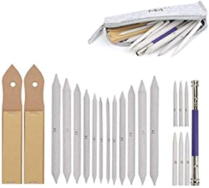 ZWIN 22PCS Blending Stump and Tortillions Set Paper Art Blenders with 2 Sandpaper Pencil Sharpener, 1 Pencil Extension Tool and 1 Felt Bag, Paper Blending Stump for Student Artist Sketch Drawing