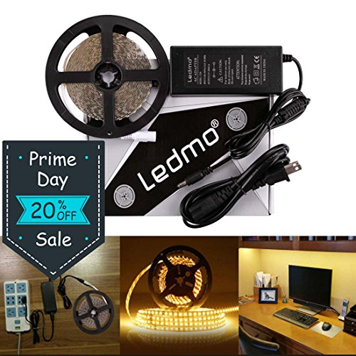 LEDMO LED Light Strip, SMD 2835 Warm White 3000K LED Strip Lights, Dimmable, Non-Waterproof, DC12V 600LEDs 16.4Ft LED Ribbon,LED Tape Ribbon,Decoration Led Ribbon With Power Supply by LEDMO
