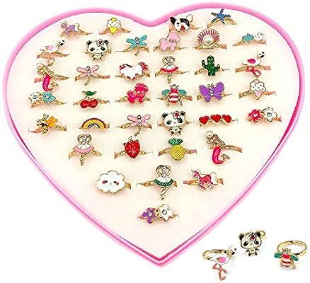 36Pcs Children Kids Little Girl Adjustable Mermaid Unicorn Jewelry Rings In Box