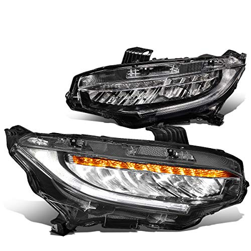 (Pair Full LED DRL+Sequential Turn Signal Type-R Style Headlight Upgrade for 16-18 Honda Civic)