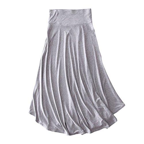 GladiolusA Femme Jupe Midi Uni Asymetrique Tissu Doux Pliss Rtro Jupe Longue Taille Haute Jupe Gris Clair 2