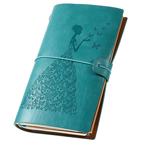 Leather Journal, Vintage Refillable Travelers Notebook with Line Paper+ 1 PVC Zipper Pocket +18 Card Holder for Women 4.7 X 7.9in (Blue)