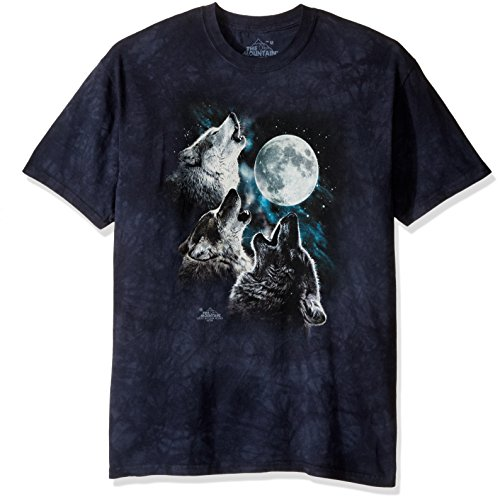 (The Mountain Three Wolf Moon In Blue Adult T-Shirt, Blue, 5XL)