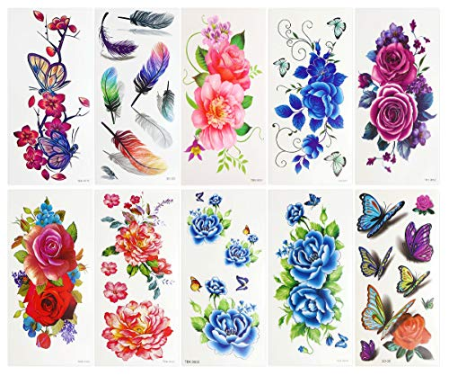 Penta Angel 10 Sheets Temporary Tattoo Sticker 3D Lifelike Flower Butterfly Feature Water Transfer Paper Tattoos Vivid Fake Body Art Printing Stickers for Women Girls Teens -