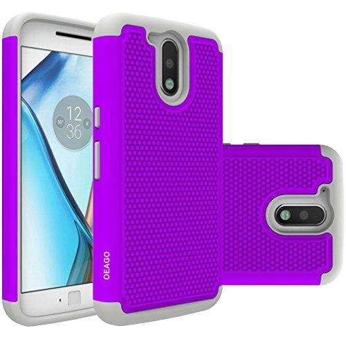 Moto G4 Case, Moto G4 Plus Case - OEAGO [Shockproof] [Impact Protection] Hybrid Dual Layer Defender Protective Case Cover for Motorola Moto G4/G4 Plus (Moto G Plus, 4th Gen) - Violet
