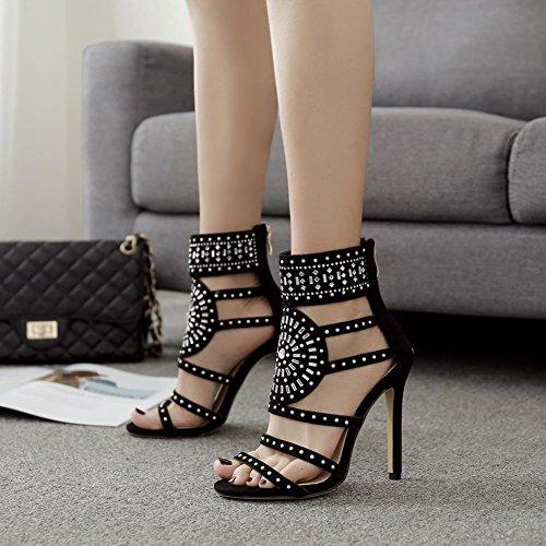 fereshte Womens Suede Calceus Shoes Sexy Gladiator Sandals Hollow Out Diamond Super High Stiletto Heels Black vQbPWlMr0