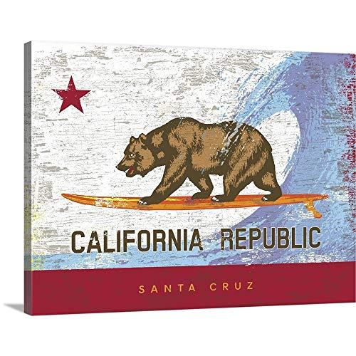 California Surf Bear Flag, Santa Cruz Canvas Wall Art Print, 40