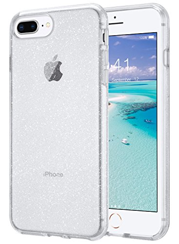 ULAK Clear Glitter Case for iPhone 8 Plus, iPhone 7 Plus Case Clear, Slim Fit Hybrid Shock Absorption TPU Bumper Cover for iPhone 7 Plus/iPhone 8 Plus (2017) - Clear Glitter (Polaroid Phone Case Iphone 5)