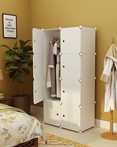 KOUSI Portable Wardrobe Closet for Bedroom Clothes Armoire Dresser Cube Storage Organizer, 5 Cubes&1 Hanging Sections by KOUSI