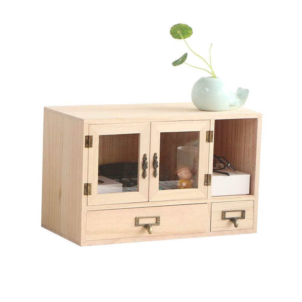 RANRANJJ Creative Solid Wood Multi-Layer Drawer Storage Cabinet Office Desktop Storage Box Desk Debris Finishing Box Rack