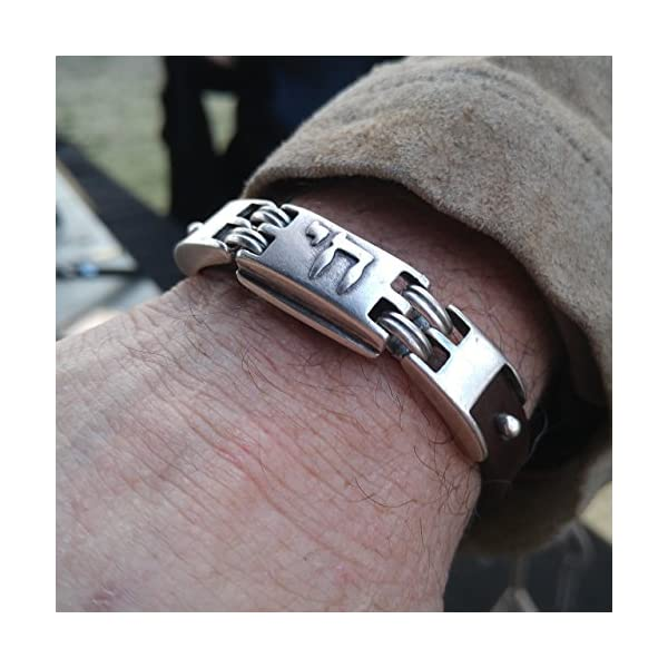 Leather Chai Hebrew Lucky Bracelet for Men or Bar Mitzvah in Brown Color | Alef Bet Jewelry