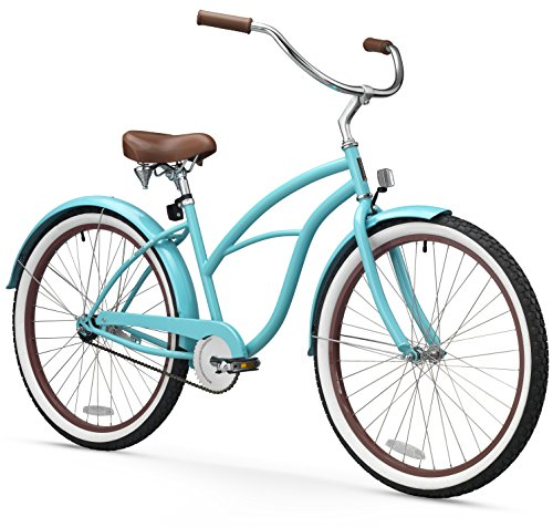 - sixthreezero Women's Single Speed Beach Cruiser Bicycle, Teal Blue w/ Brown Seat/Grips, 26