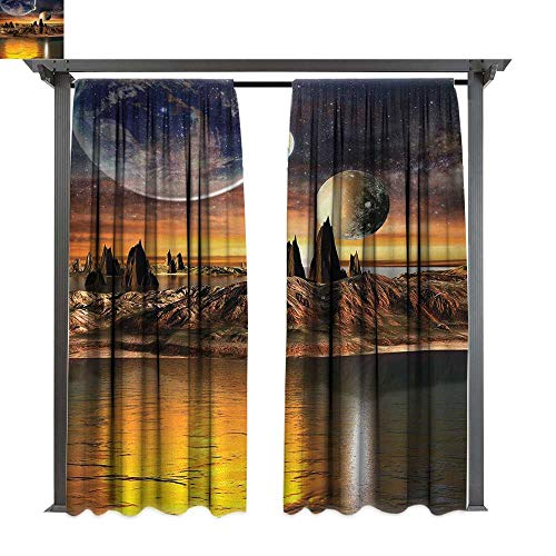 - shenglv Fantasy, Patio Curtains, Alien Planet with Earth Moon and Mountain Fantasy Sci Fi Galactic Future Cosmos Art, Outdoor Curtain for Patio (W108 x L108 Inches, Multi)