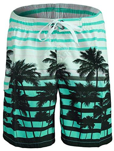 Men's Swim Trunks Telegraph Letters Printing Hawaii Isla Palms Board Shorts (35-36 Waist, Aqua)