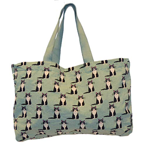 Large Tote Bag - Black Cat Print on Mint Canvas, Multipurpose Cotton Travel Shopper Bag
