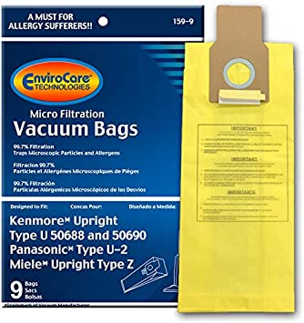9 Kenmore Upright 50688 and 50690 Panasonic Type U-2 Vacuum Bags Microfiltration